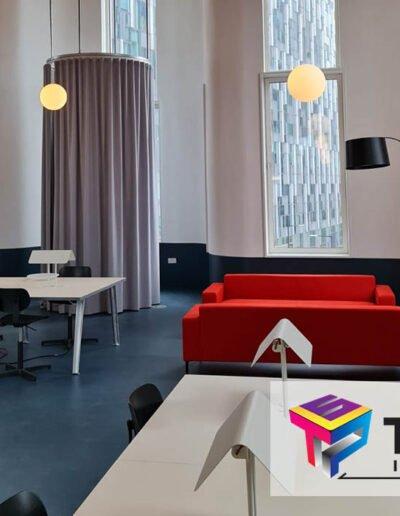 london design district interior drywall